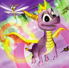 "Spyro the Dragon from PS1 flying in the ""Crystal Flight"" speedway. <3 :)"