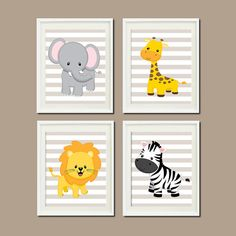 JUNGLE Nursery Wall Art ELEPHANT Giraffe Lion por LovelyFaceDesigns