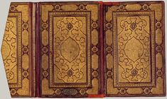 This example of bookbinding shows the front and back covers plus a flap traditional of Islamic bookbinding. The Arts of the Book in the Islamic World, 1600–1800. Copyright The Metropolitan Museum of Art, New York.