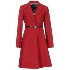 Montereggi Point Coat (€145) ❤ liked on Polyvore featuring outerwear, coats, jackets, coats & jackets, brick red, single breasted coat, belted coat, red coat, long sleeve coat and flannel coat