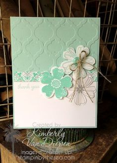 Kimberly Van Diepen, features Stampin' Up! flower shop stamp set and coordinating pansy punch with modern mosaic embossing folder