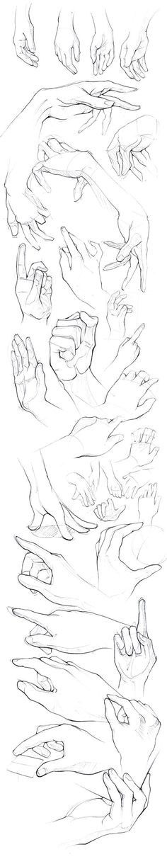 How to draw hands - Drawing reference - sketches - pose reference of human anatomy Drawing Lessons, Drawing Poses, Drawing Techniques, Drawing Tips, Drawing Hands, Drawing Ideas, Sketching Tips, Gesture Drawing, Drawing Practice