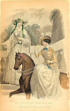An Equestrian Fashion Plate by peacay, (Godey's Lady's Book¶ , 1842)