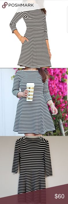 Kate Spade Everyday black/white striped dress a perfectly cut fit-and-flare with bracelet-length sleeves and a flattering wide neckline that can be worn, stylishly, virtually anywhere, from a monday morning meeting to a saturday night date. plus, its strechy and has pockets! Dress has been FAVORITELY WORN (Can tell) but still good condition, normal wear, no holes but does have cotton rises under both armpits 7th photo. Logo on dress fading 5th photo kate spade Dresses