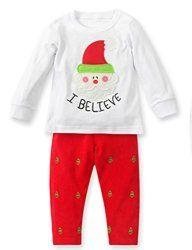 Baby Boys Girls Casual Christmas T-shirt Pants Pajamas Set