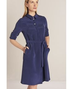 #elevatedgotoonepiece 100% sandwashed silk From rich colour, mother pearl buttons and knee length to roll up sleeves this dress has everything to make it a go-to one garment, which steps on the line between dressy and casual. It is an essential and reliable piece in your summer wardrobe Model is5′9″ wearing size 10 in French navy color Questions about fit and colors? Email info@sbon.co.uk