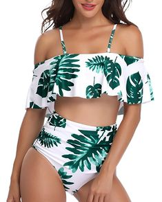 Women One Piece Plus Size Swimwear Ruffle Flounce Off Shoulder Printed Monokini Swimsuits Leaves Printing Swimwear Bathing Suits Vintage Swimsuits, Women's One Piece Swimsuits, Cute Swimsuits, Women Swimsuits, Bathing Suits For Teens, Summer Bathing Suits, Cute Bathing Suits, Bathing Suit Top, Bikini Modells