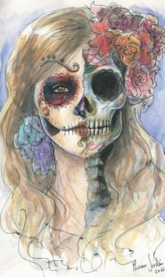 day of the dead skull art illustration of a woman's skull with roses Day Of The Dead Drawing, Day Of The Dead Artwork, Day Of The Dead Skull, Mexican Skulls, Mexican Folk Art, Los Muertos Tattoo, Sugar Skull Art, Sugar Skulls, Candy Skulls