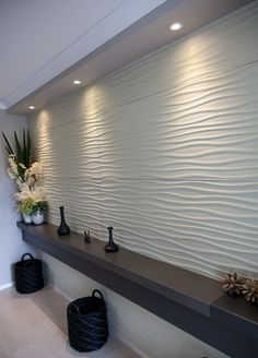 Stonini™ Rhythm wall panels in ivory provide the backdrop to a welcoming foyer feature in this Elderton Home. Stone Wall Panels, Wall Panel Design, Tv Wall Design, 3d Wall Panels, Entrance Decor, Entrance Design, Office Interior Design, Interior Decorating, House Paint Interior