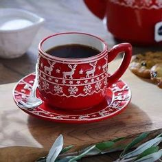 Brighten your table with this Red and White Deer Coffee Cup with Saucer. It looks like a winter sweater and it matches all of our Red and White Deer dinnerware. Christmas Coffee, Red Christmas, Christmas Time, Diy Christmas Gifts For Parents, Chocolate Pies, Blended Coffee, Coffee Cups, Cozy Coffee, Coffee Shop