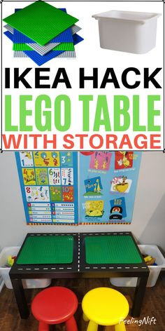 DIY Lego Table with Storage - Easy IKEA hack the kids wlll love! DIY Lego Table: How to make a Lego Table with tons of storage! Using an IKEA Hack! Lego Table Ikea, Lego Table With Storage, Lego Duplo Table, Lego Building Table, Mesa Lego, Ikea Lack Side Table, Ikea Storage, Toy Storage, Storage Baskets