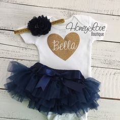 PERSONALIZED SET gold glitter name heart shirt bodysuit, navy blue ruffle tutu skirt bloomers, newborn baby girl take home coming home hospital outfit by HoneyLoveBoutique