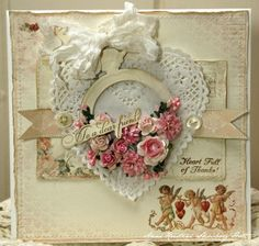 Gorgeous Shabby Friend Card...with paper lace heart & ribbon.