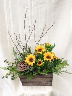 Add a touch of rustic charm with this adorable 3 sided arrangement. Made in a brown wooden container. Filled with realistic sunflowers, blue berries, fern, pod and branches. Sunflower Floral Arrangements, Church Flower Arrangements, Silk Floral Arrangements, Church Flowers, Artificial Flower Arrangements, Fake Flowers, Artificial Flowers, Silk Flowers, Beautiful Flowers