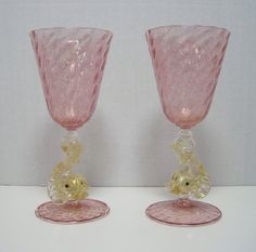 Pair Vintage Italian Murano Glass Goblets Dolphin Stems