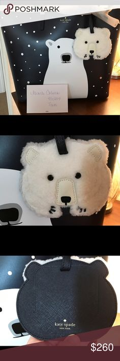 Kate Spade Cold Comfort Len & Luggage Tag Selling my adorable Kate Spade Cold Comfort Polar Bear Len with matching bear luggage tag. It pains me to sell, but hubbys car in shop and gotta do what I gotta do. Smoke and pet free, both brand new with tags, unused and just out of packaging. kate spade Bags Totes