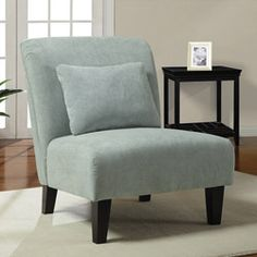 @Overstock - Enhance your décor with this modern accent chair. The deep espresso wooden legs contrast with the spa fabric, making this chair visually stimulating in any room. The soft fabric and spring seat make this chair a comfortable addition to your decor.http://www.overstock.com/Home-Garden/Anna-Spa-Accent-Chair/5901995/product.html?CID=214117 $148.49 (Ali --  for your living room?)