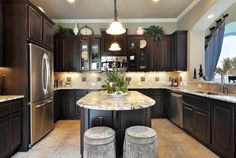 YESSS, dark cabinets, grey walls, stainless steel, and that counter top looks good too!