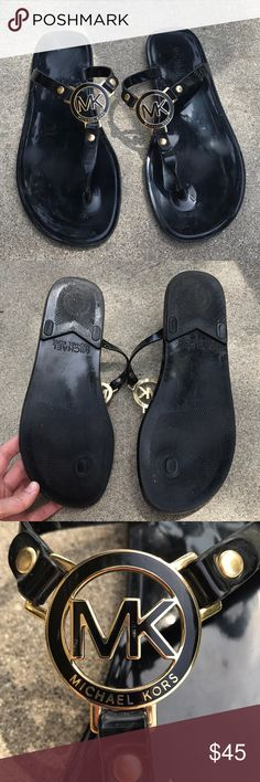 Michael Kors Thong Sandals Black sandals that I wore a couple times. Personally the center of the sandal bothered the top of my foot but I'm pretty sensitive. Michael Kors Shoes Sandals