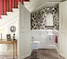 lovely black and white powder room