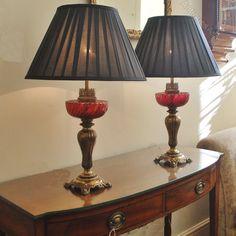Antiques Atlas - Pair Of Art Nouveau Cranberry Glass And Brass Lamp