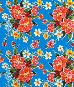 Too much?  Blue Hibiscus Oilcloth Fabric - $6.70/yard