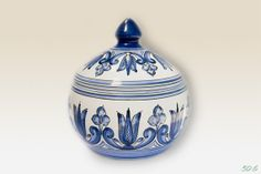 Lidded Bonbonniere with blue Flower motives . by HabanCeramic,