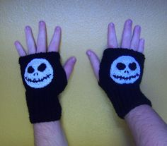 These fingerless gloves are made out of 100% acrylic yarn. The glove could be any color and it fits most adults. If you have any questions or for any changes please contact me. If you are interested you can find the Jack Skellington beanie here: