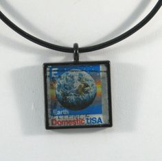 Vintage US Earth Postage Stamp Pendant Necklace by 12be on Etsy, $14.50