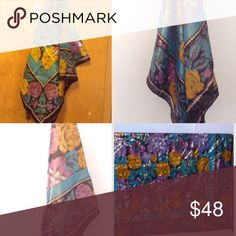 🍸WEEKEND SALE🍸 Vintage Lurex Blend FLORAL Scarf VTG 70's Sparkling Purple & Gold Floral Fashion a Scarf- Made in India. Made of Lurex and Rayon . Dimensions are slightly irregular in the sense that sides are uneven -Measures 36x35. Scarf is in beautiful Vintage Condition! Vintage Accessories Scarves & Wraps
