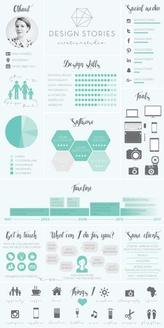 infographic about me and my creative studio DESIGN STORIES If you like this cv template. Check others on my CV template board :) Thanks for sharing! Portfolio Design, Mise En Page Portfolio, Portfolio Resume, Creative Portfolio, Portfolio Web, Graphic Design Resume, Resume Design Template, Cv Template, Resume Templates