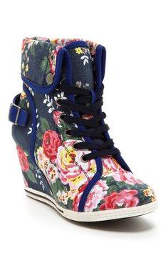 Flower Print Wedge Sneakers.