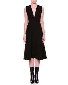 JIL SANDER Sleeveless V-Neck Midi Dress, Black. #jilsander #cloth #