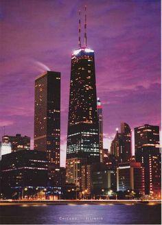 Chicago Hancock Building Skyline at Dusk Poster 24x34 – BananaRoad