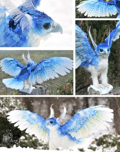 Commissioned work. Ice Phoenix concept by Completely handmade, his head and talons were sculpted from polymer clay and painted in acrylics. The body has a faux fur base covered in real feathers. Fe...