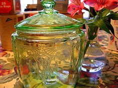 A little bit of vintage. I love this green glass cookie jar, reminiscent of days of old. There is just something about the combination of depression-era green glass and the chunky goodness of old fashioned cookies.