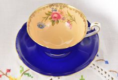 Shelley tea cup and saucer/ cobalt tea cup/ blue tea cup/ fine bone china