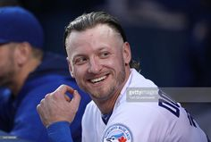 Josh Donaldson of the Toronto Blue Jays laughs as he watches a video on the jumbotron scoreboard during MLB game action against the Baltimore Orioles on June 2016 at Rogers Centre in Toronto, Ontario, Canada. Rogers Centre, Mlb Games, Josh Donaldson, American League, Toronto Blue Jays, Baltimore Orioles, Baseball Players, Major League, Diamond Are A Girls Best Friend