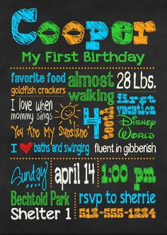 Chalkboard First Birthday Invitation by MaryBobbinsBoutique, $12.00