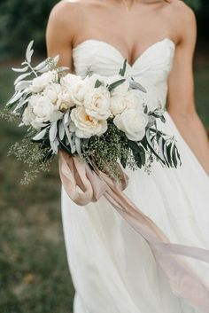 The softest bouquet of roses tied with hand dyed silk ribbon, by Whimsy Designs. #aandberealbride