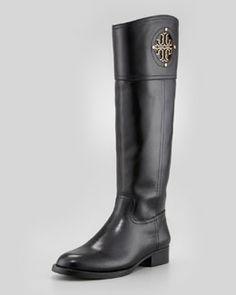 X1PU9 Tory Burch Kiernan Leather Logo Riding Boot, Black