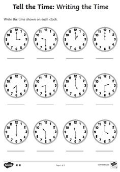 """Telling The Time Worksheet for Kids Preschool 2020 When asking what time is it in English, """"What time is it ?, What is the time? Math Division Worksheets, English Worksheets For Kindergarten, 2nd Grade Math Worksheets, Kindergarten Reading, Clock Worksheets, Free Printable Worksheets, Printables, Telling Time For Kids, Telling Time Activities"""