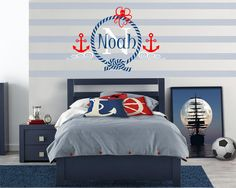 Nautical Sailor Themed Personalized Name, Custom Initial Vinyl Wall Decal Sticker for Nursery, Boy's or Teen Room