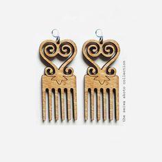 Adinkra earrings (Sankofa Duafe) - Seiwa Akoto