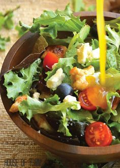One bite of this Chicken Blueberry Salad and you'll be hooked. Cherry tomatoes, blueberries, feta, chicken, and creamy avocado all topped with citrus orange Vinaigrette?