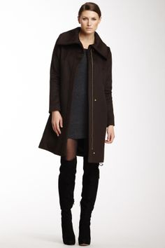 Collared Wool Blend Coat
