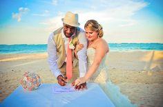 Beach wedding, tropical, brooch bouquet
