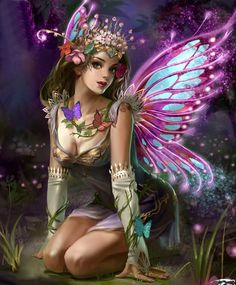 Coy fairy with butterfly vine /Purple & Blue Wings - shared by Psychicatena.com