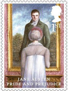 Jane Austen stamps go on sale ~ All six published novels are included in the British Royal Mail stamps issued to mark the anniversary of Pride and Prejudice. Royal Mail Stamps, Uk Stamps, Postage Stamps, Elizabeth Gaskell, Charlotte Bronte, Regency Fashion, Pride And Prejudice 2005, Stieg Larsson, Jane Austen Novels