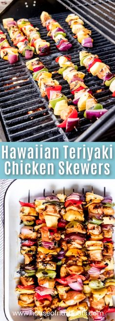 These Hawaiian Teriyaki Chicken Skewers are a delicious, easy, healthy summer dinner that is as flavorful as it is colorful!  Made with a simple homemade teriyaki sauce recipe, red, green, and yellow peppers, red onions, sweet grilled pineapple, and tender, juicy chicken, everybody will be happy to have these kabobs for dinner! #chicken #teriyaki #skewers #Hawaiian #Hawaii #pineapple #recipe #homemade #fromscratch #easy #grilling #summer #healthy #vegetables #partyfood #simple